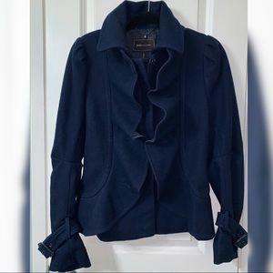 BCBGMaxAzria Navy Blue Ruffled Coat (Size: Small)